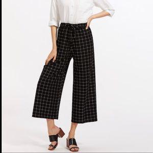 Pants - Windowpane Print Tie Waist Wide Leg Pants